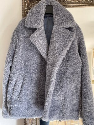 Herrlicher Pluszowa kurtka szary niebieski Poliester