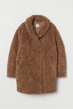 H&M Abrigo Teddy marrón-marrón claro