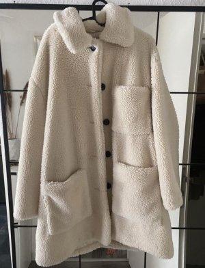 Zara Woman Pluszowy płaszcz kremowy-czarny