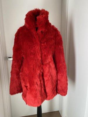 BSB Collection Manteau en fausse fourrure rouge