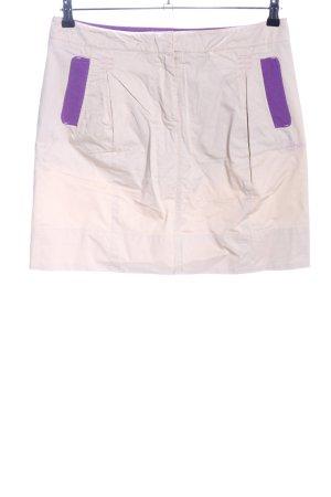 Tee up Minirock creme-lila Schriftzug gestickt Casual-Look