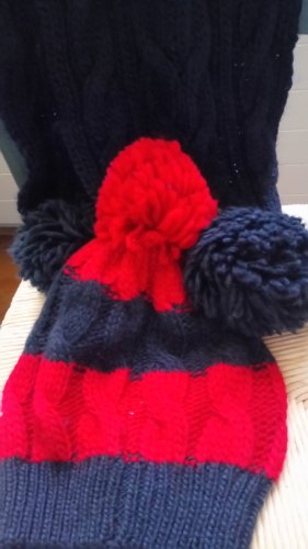 Abercrombie & Fitch Wollen sjaal donkerblauw-rood Wol