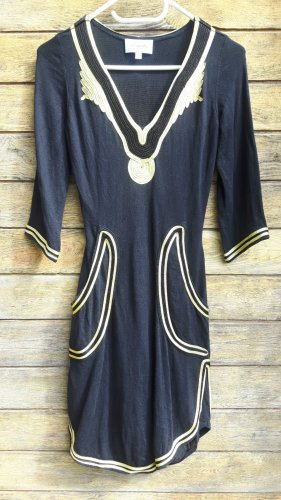 Temperley london Robe en laine noir-doré