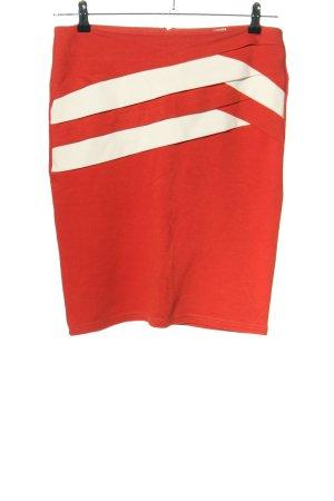 Temt Spódnica ze stretchu czerwony-biały Elegancki