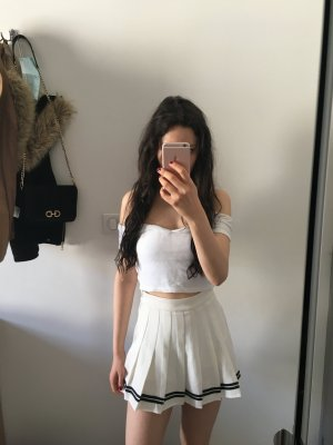 keine Plaid Skirt white-black