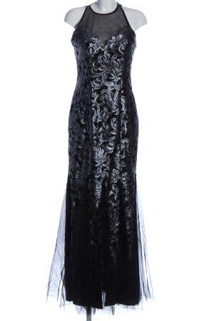 Terani Couture Abendkleid schwarz-silberfarben Schriftzug gestickt Elegant