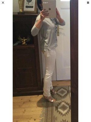 Apart Jeansy ze stretchu biały-złoto