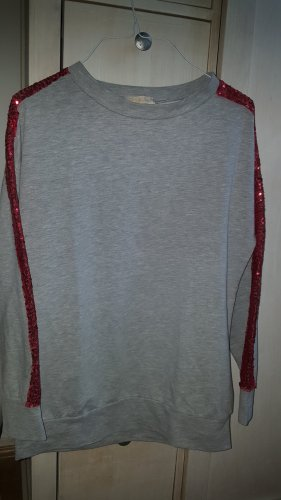 Terra di Siena Sweatshirt hellgrau rote Pailletten Galon GrM