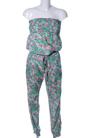 Terranova Jumpsuit grün-pink Allover-Druck Casual-Look