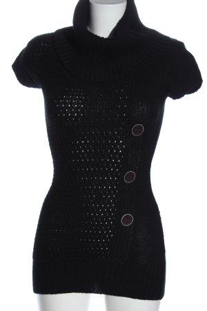 Terranova Pull à manches courtes noir style décontracté
