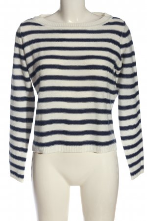 Terranova Maglione girocollo bianco-blu motivo a righe stile casual