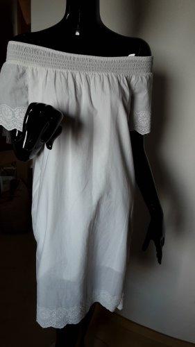 Terranova, weißes Kleid mit Spitzen. Ausschnitt Gummizug. Gr. XS