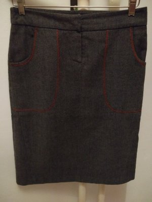 Jupe en tweed gris anthracite-rouge coton