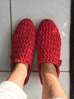 selfmade Pantoufles-chaussette rouge