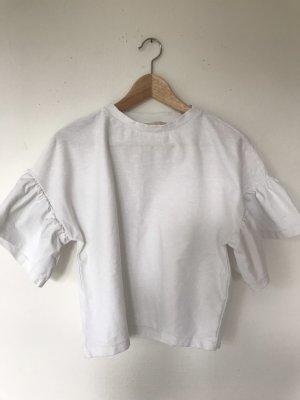 H&M Top z falbanami biały