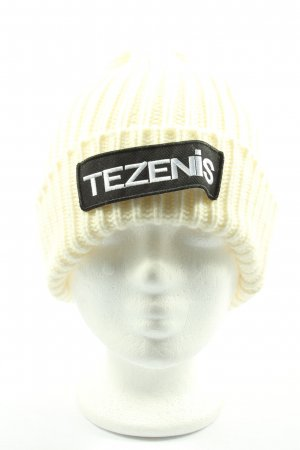 Tezenis Bonnet en crochet blanc cassé-noir lettrage imprimé