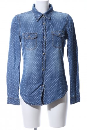 Tezenis Langarmhemd blau-weiß Punktemuster Casual-Look