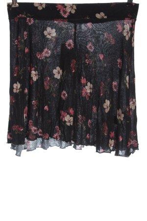 Tezenis Minigonna nero-rosa motivo floreale stile casual