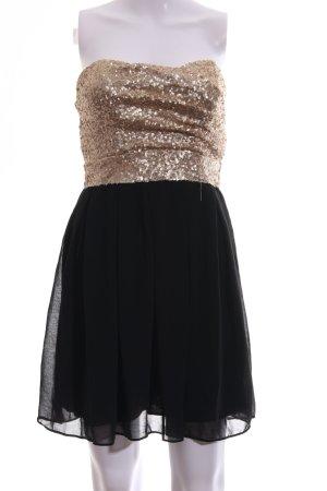 TFNC Bandeaukleid goldfarben-schwarz Elegant