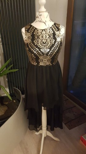 TFNC High Low Dress black-gold-colored polyester