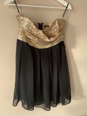 TFNC Vestido de lentejuelas negro-color oro