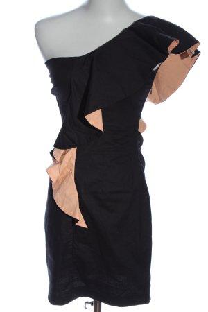 TFNC Vestido de un hombro negro-nude elegante