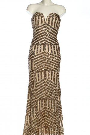 TFNC Sequin Dress gold-colored-cream striped pattern extravagant style