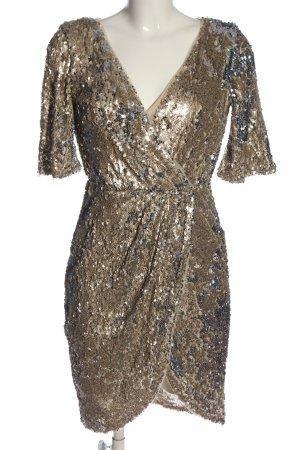 TFNC Vestido de lentejuelas color oro elegante