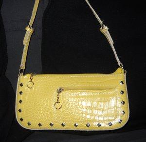 THE BULAGGI BAG Handtasche Schultertasche Abendtasche Tasche gelb Kroko Nieten