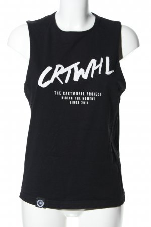 The Cartwheel Project Muscleshirt zwart gedrukte letters casual uitstraling