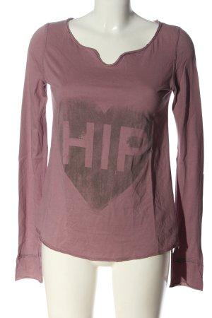 the hip tee Longsleeve pink Schriftzug gedruckt Casual-Look