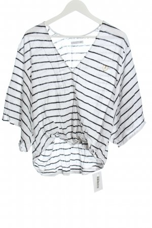 the hip tee V-Ausschnitt-Shirt weiß-schwarz Streifenmuster Casual-Look
