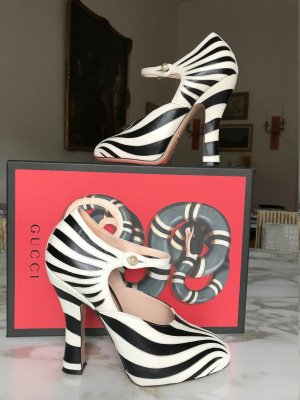Gucci Mary Jane pumps wolwit-zwart Leer