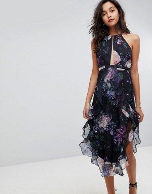 The Jetset Diaries TJD Peony Midi Kleid Abendkleid Ballkleid Rosen geblümt