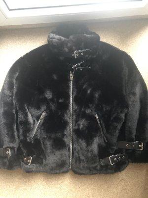 The Kooples Cappotto in eco pelliccia nero-argento