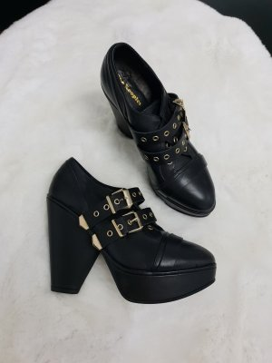 The Kooples Platform Booties black-gold-colored