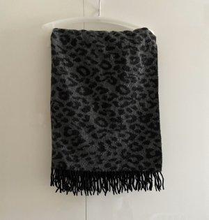 The Kooples Schal scarf Leo Muster Leoparden Tiger schwarz grau