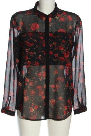 The Kooples Transparenz-Bluse schwarz Blumenmuster klassischer Stil