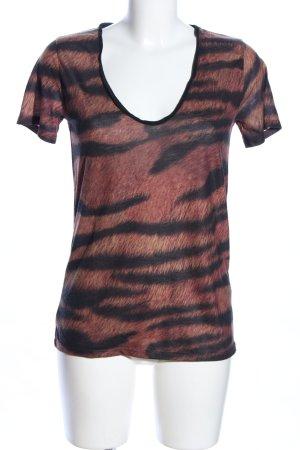 The Kooples V-Neck Shirt brown-black animal pattern casual look