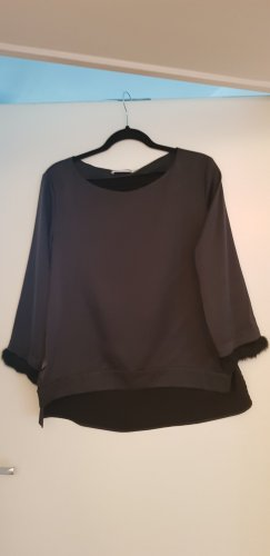 (The Mercer) NY Blusa de seda negro-gris antracita