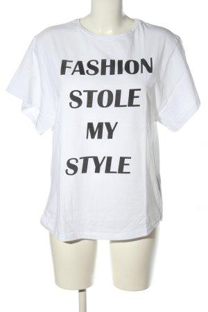 (The Mercer) NY Camiseta blanco-negro letras impresas look casual
