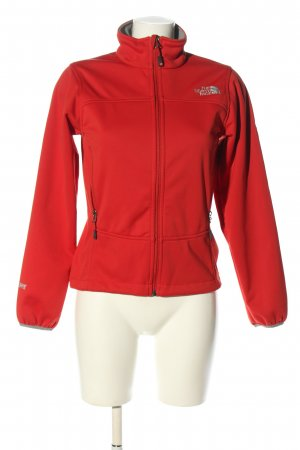 The North Face Veste softshell rouge-gris clair lettrage brodé
