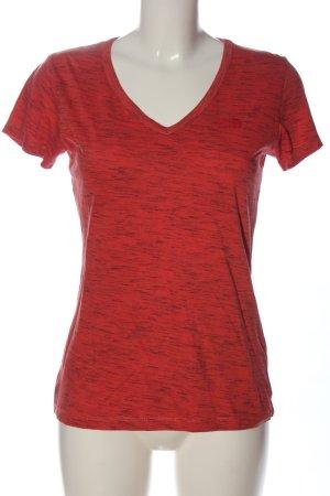 The North Face V-Ausschnitt-Shirt rot-schwarz meliert Casual-Look