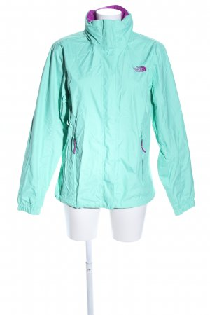 The North Face Windbreaker turquoise-lilac embroidered lettering casual look