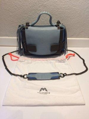 Handbag pale blue-dark blue leather