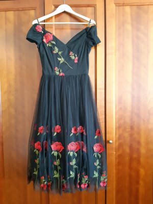 The Pretty Dress Company Vestido con enagua negro-rojo Viscosa