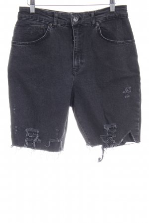 The Ragged Priest Denim Shorts black themed print casual look