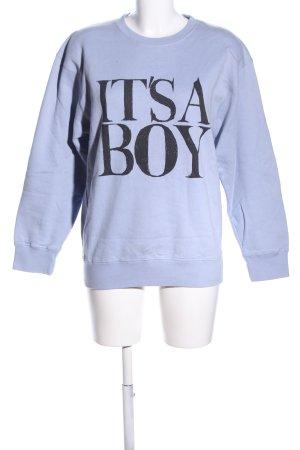 THE SHIT Sweatshirt blau-schwarz Schriftzug gedruckt Casual-Look