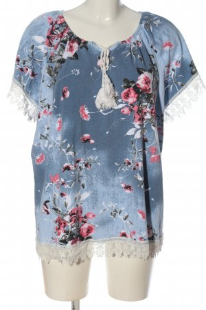Thea Kurzarm-Bluse Allover-Druck Casual-Look