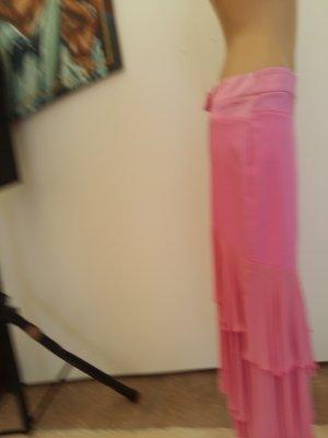 Thierry Mugler Falda con flecos rosa claro